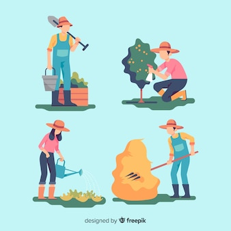 Pack of flat design agricultural workers
