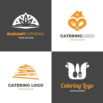 Pack of flat design catering logos