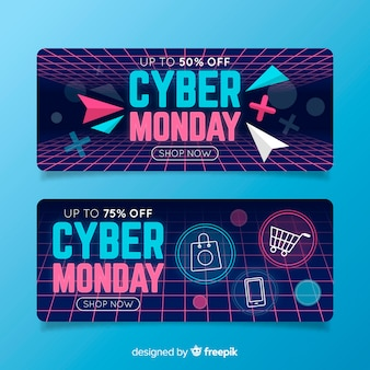 Pack of flat design cyber monday banners