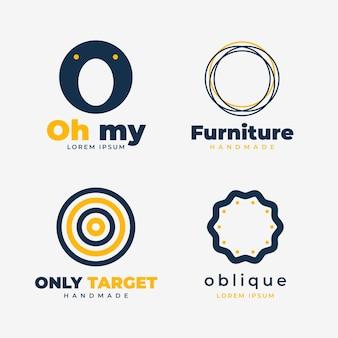 Confezione di modelli di design piatto o logo Vettore gratuito