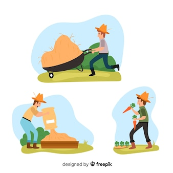 Pack of flat design people working in agriculture