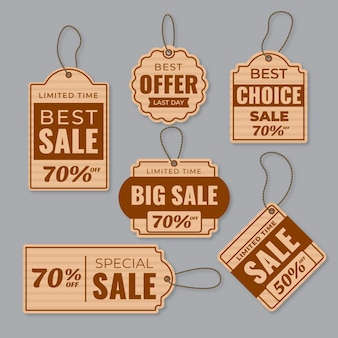 Pack of flat design sales tags