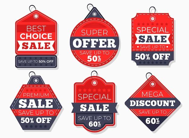 Confezione di tag di vendita design piatto