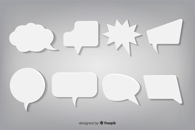Pack of flat design speech bubbles in paper style