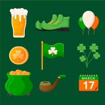 Pack of flat design st. patrick's day elements