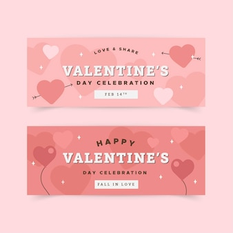 Pack of flat design valentine's day banners