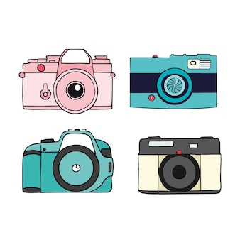 Pack of flat designed cameras with polaroid
