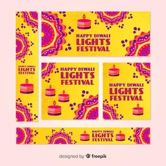 Pack of flat diwali web banners