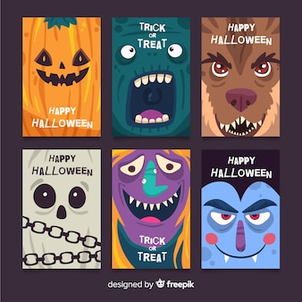 Pack of flat halloween cards