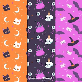 Pack of flat halloween patterns