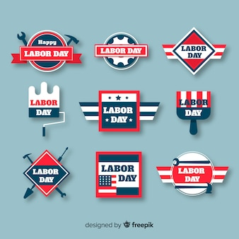 Pack of flat labor day badges