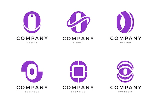 Pack of flat o logo templates