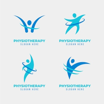 Pack of flat physiotherapy logo templates