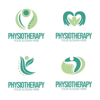 Pack of flat physiotherapy logo templates Free Vector