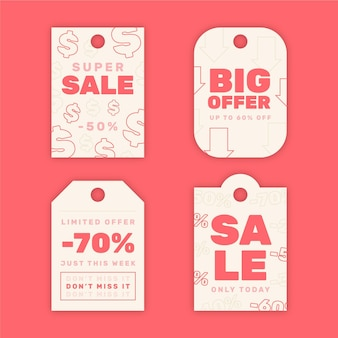 Pack of flat sales tags
