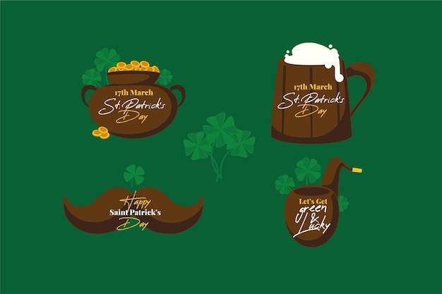 Pack of flat st. patrick's day badges