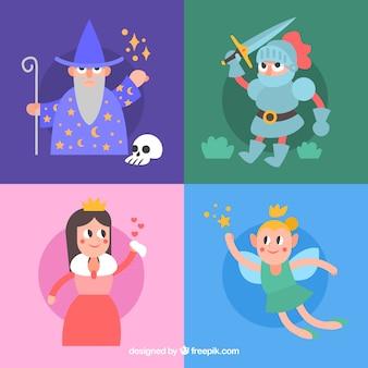 Confezione di storie personaggi piatti