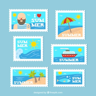 Pack of flat summer stamps