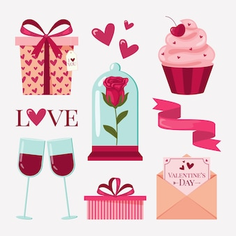 Pack of flat valentine's day elements