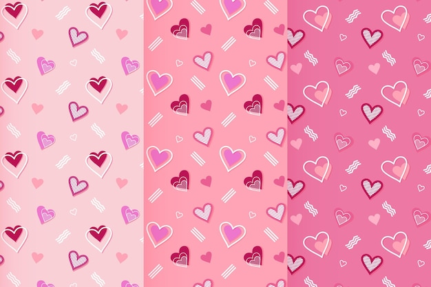 Pack of flat valentine's day patterns