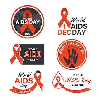 Pack of flat world aids day badges