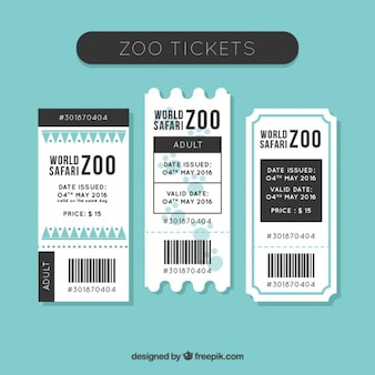 Pack of flat zoo tickets