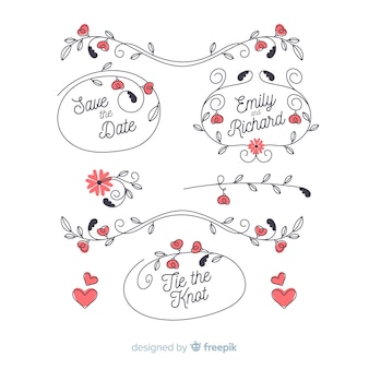 Pack of floral hand drawn wedding ornament