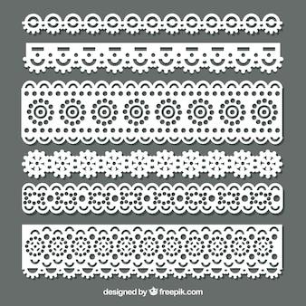 Confezione di bordi di pizzo floreale in design piatto