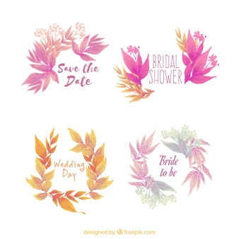 Pack floral watercolor ornaments for wedding