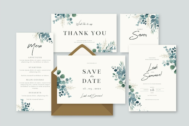 Pack of floral wedding stationery