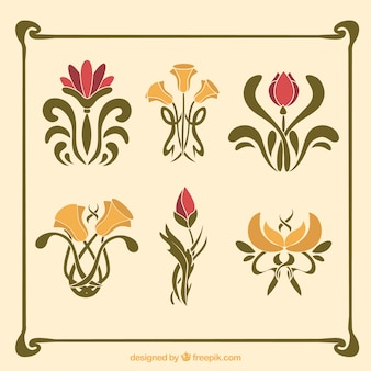 Pack of flowers in art nouveau style