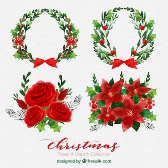 Pack of flowers and decorative christmas wreaths