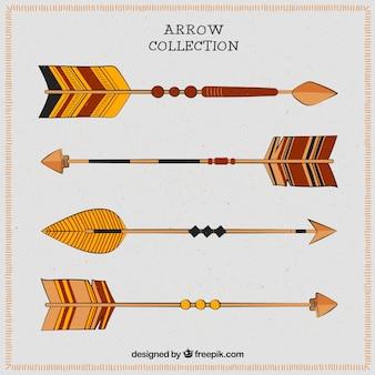 Confezione da quattro frecce in tonalità marroni