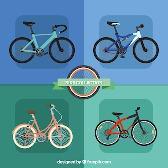 Pack of four bikes in flat design