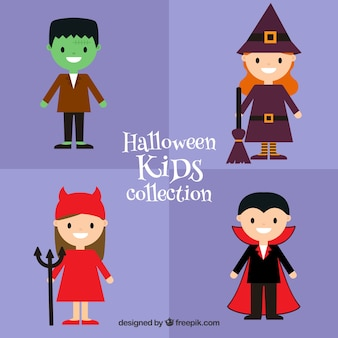 Pack of four children with halloween costumes