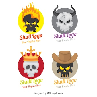 Pack of four colored skull logos