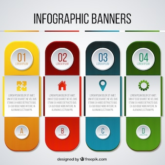 Pack of four colorful infographic banners in realistic style