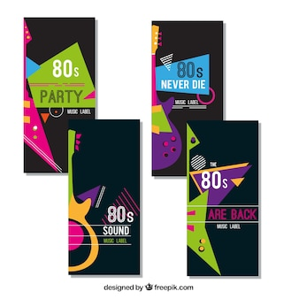 Pack of four colorful music cards