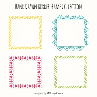Pack of four colorful ornamental frames