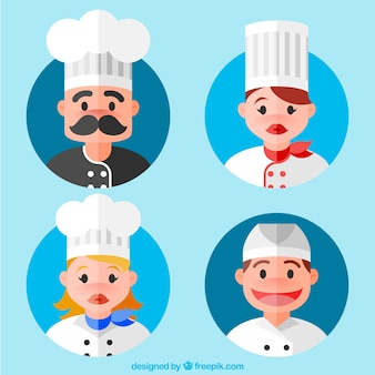 Pack of four cooks in flat design