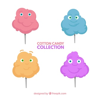 Pack of four cotton candy with faces