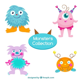 Pack of four cute monster characters