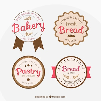 Pack of four cute retro bakery badges