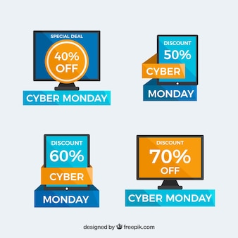 Pack of four cyber monday stickers in flat design