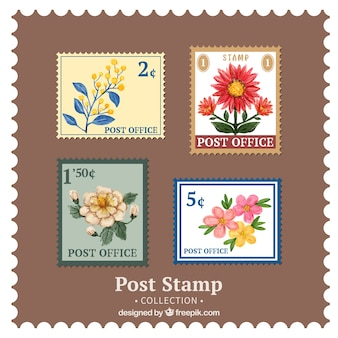 Pack of four decorative vintage flower stamps