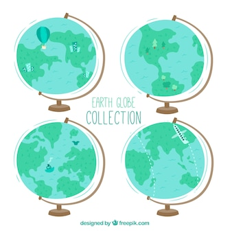 Pack of four earth globes with decorative elements