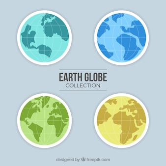 Pack of four earth globes with different colors