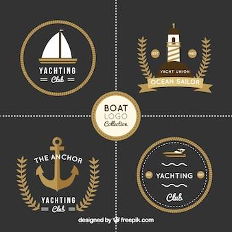 Pack of four elegant boat logos