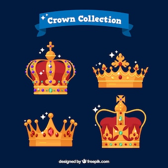 Pack of four elegant golden crowns with diamonds