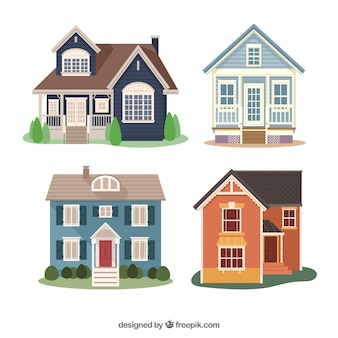 Pack of four flat houses with different designs